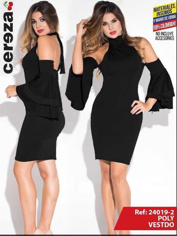 Vestido Moda Colombiana Cereza - Ref. 111 -24019-2 Negro