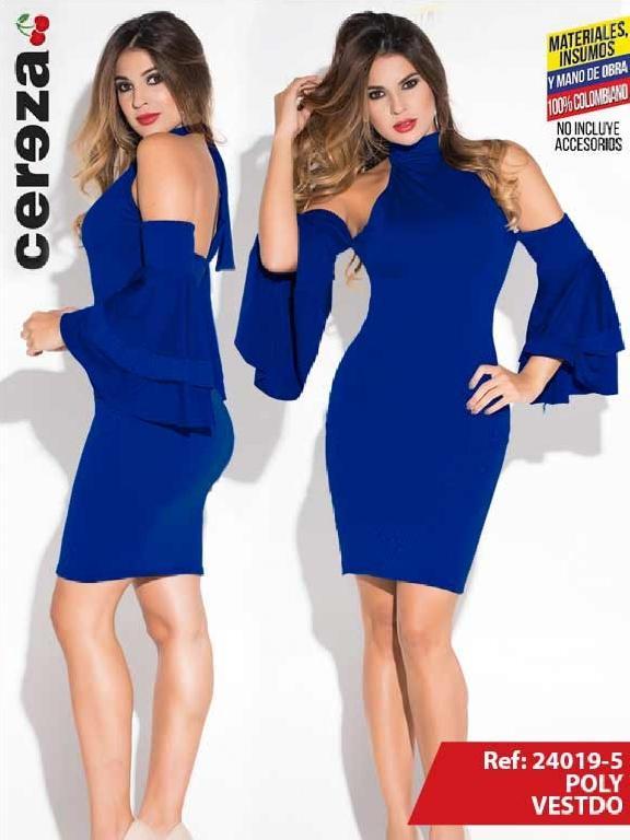 Vestido Moda Colombiana Cereza  - Ref. 111 -24019-5 Azul