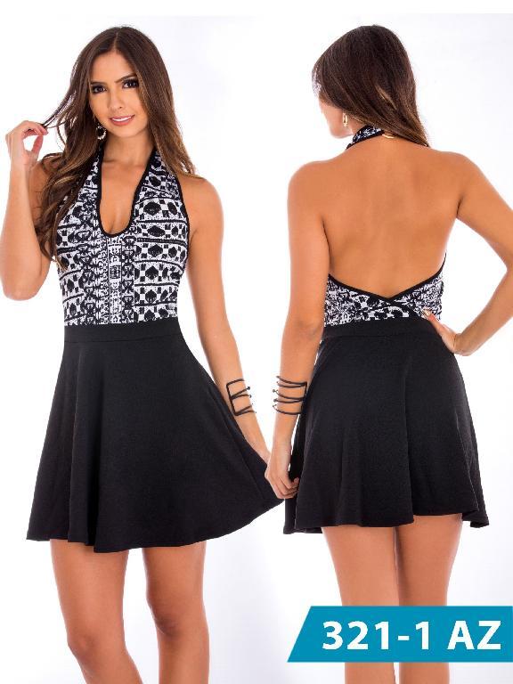 Vestido Moda Colombiana Azulle - Ref. 245 -321-1 Negro-Blanco