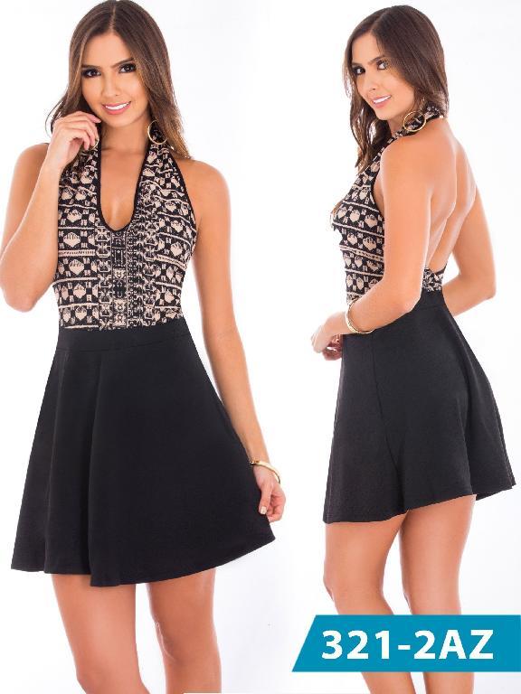 Vestido Moda Colombiana Azulle - Ref. 245 -321-2 Negro-Beige