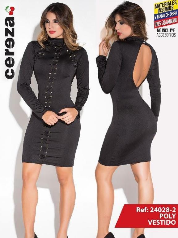 Vestido Moda Colombiana Cereza - Ref. 111 -24028-2 Negro