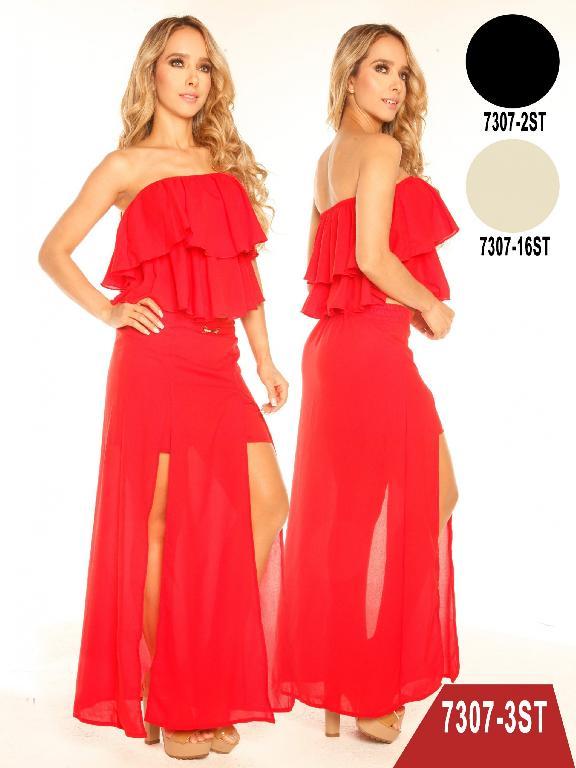 Conjunto Vestido Moda Colombiano Stafull  - Ref. 247 -7307-3 ST Rojo