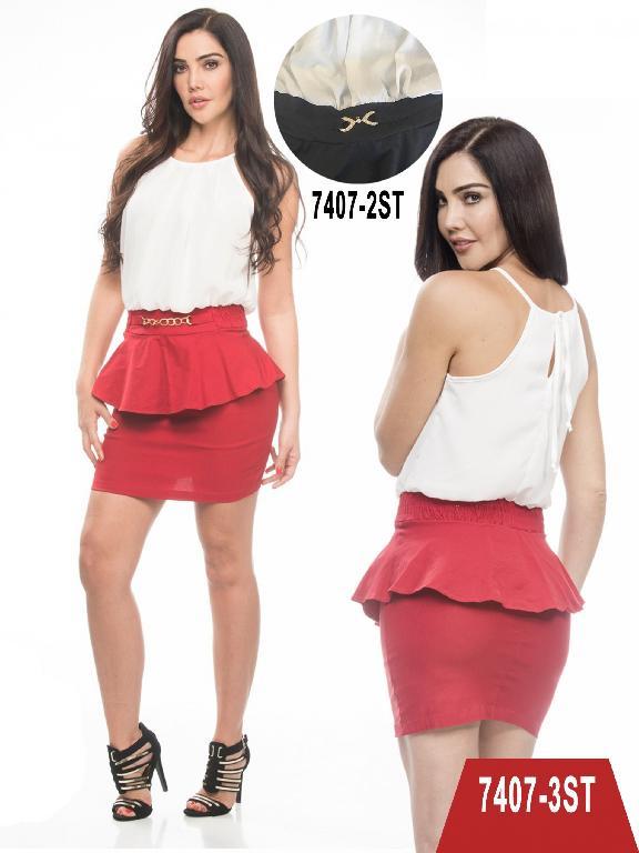 Vestido Moda Colombiano Stafull - Ref. 247 -7407-3 ST Rojo