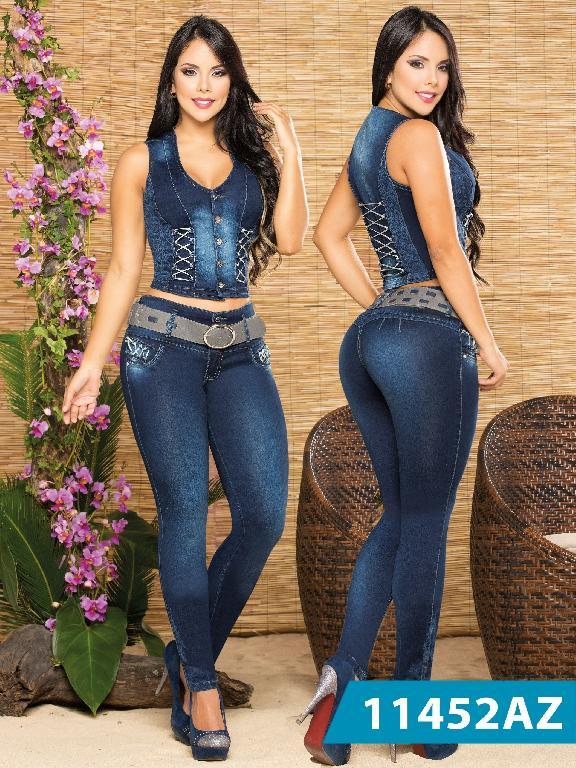 Conjunto Jeans Levantacola Colombiano Azulle