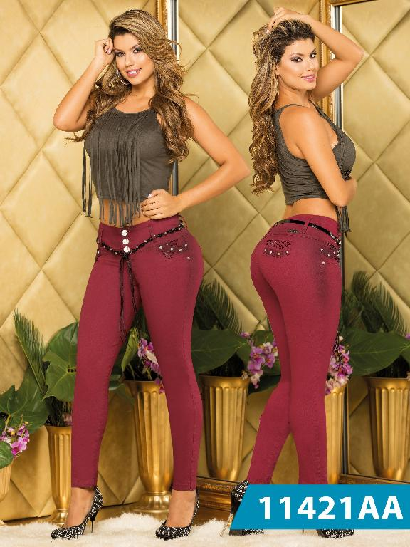 Colombian Sexy Jeans Burgundy Colors Studio AA - Ref. 235 -11421 AA