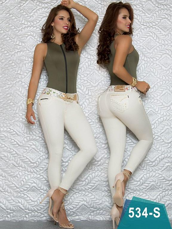 Colombian Sexy Jeans Butt Lifting Beige Color Duches  - Ref. 237 -534 S