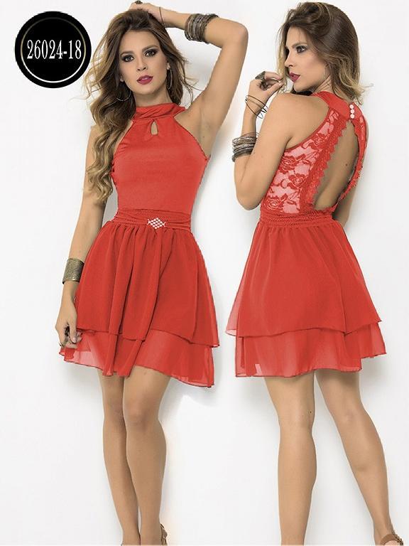 Vestido Moda Colombiano Cereza - Ref. 111 -26024-18 Coral