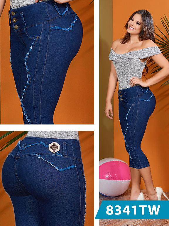 Colombian Classic Capri Butt Lifting Blue Top Women  - Ref. 123 -8341 TW