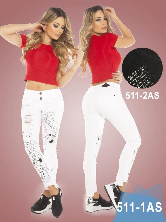 Colombian Butt lifting Jeans - Ref. 124 -0511-1 Blanco