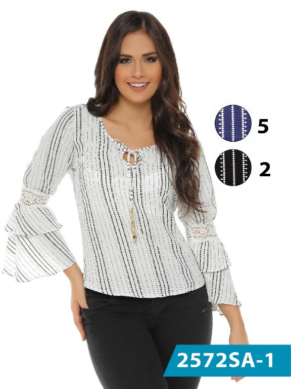 Colombian Classic Top White and Silver Color Solo Amor  - Ref. 246 -2572-5 Azul