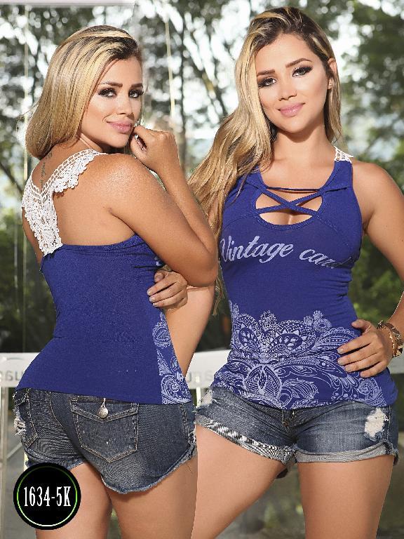 Blusa Moda Colombiana Kpriccio  - Ref. 233 -1634 5 Azul