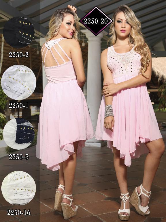 Vestido Moda Fuxia Rosado - Ref. 240 -2250 Rosado