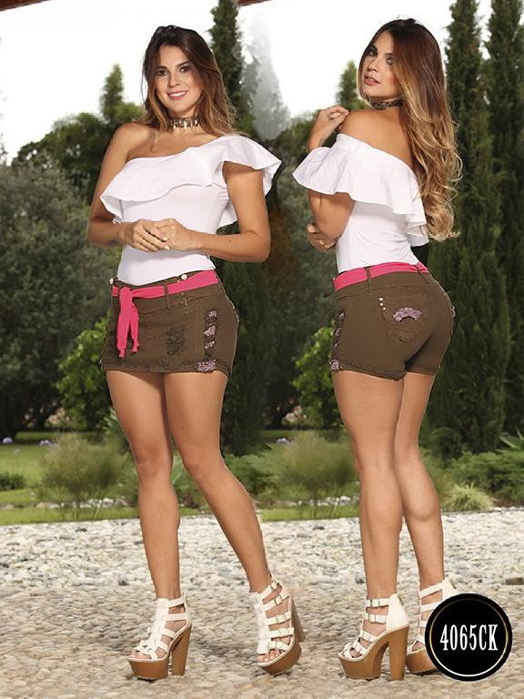 Falda Short Levantacola Colombiana Cokette - Ref. 119 -4065CK