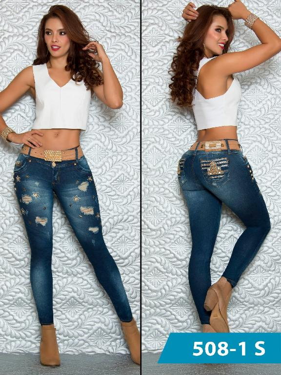 Colombian Sexy Jeans Butt Lifting Blue Ripped Denim  Duches  - Ref. 237 -508 S