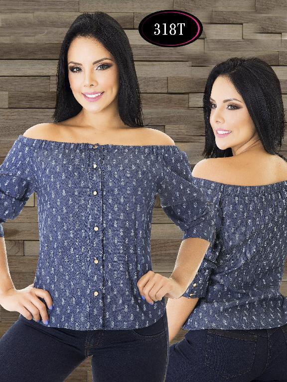 Blusa Moda Colombiana Tabbachi - Ref. 236 -318 T Azul