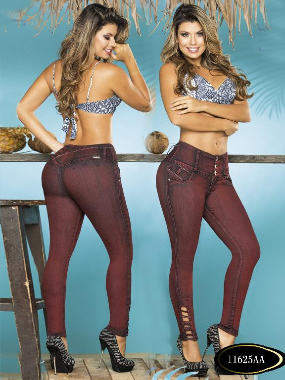 Colombian Sexy Jeans Butt Lifting Burgundy Colors Studio AA  - Ref. 235 -11625 AA