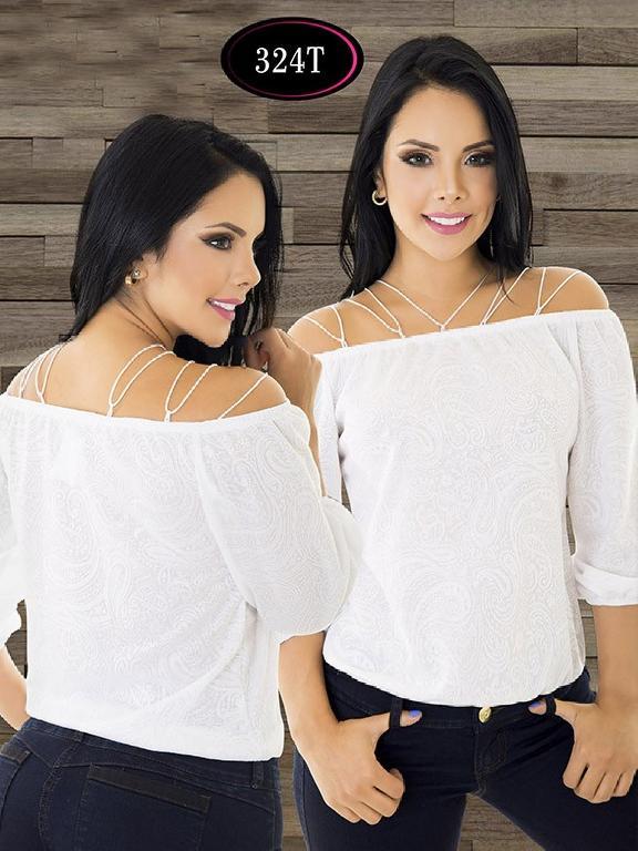 Blusa Moda Colombiana Tabbachi - Ref. 236 -324-T Blanco