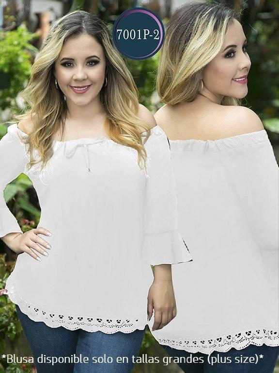 Blusa Moda Colombiana Thaxx Size Plus - Ref. 119 -7001-2 Blanca
