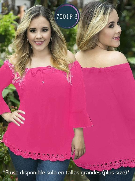Blusa Moda Colombiana Thaxx Size Plus - Ref. 119 -7001-3 Fucsia