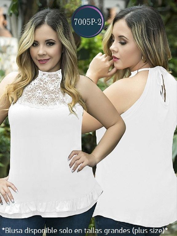 Blusa Moda Colombiana Thaxx Size Plus - Ref. 119 -7005-2 Blanco