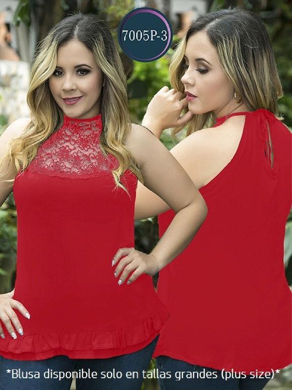 Blusa Moda Colombiana Thaxx Size Plus - Ref. 119 -7005-3 Rojo
