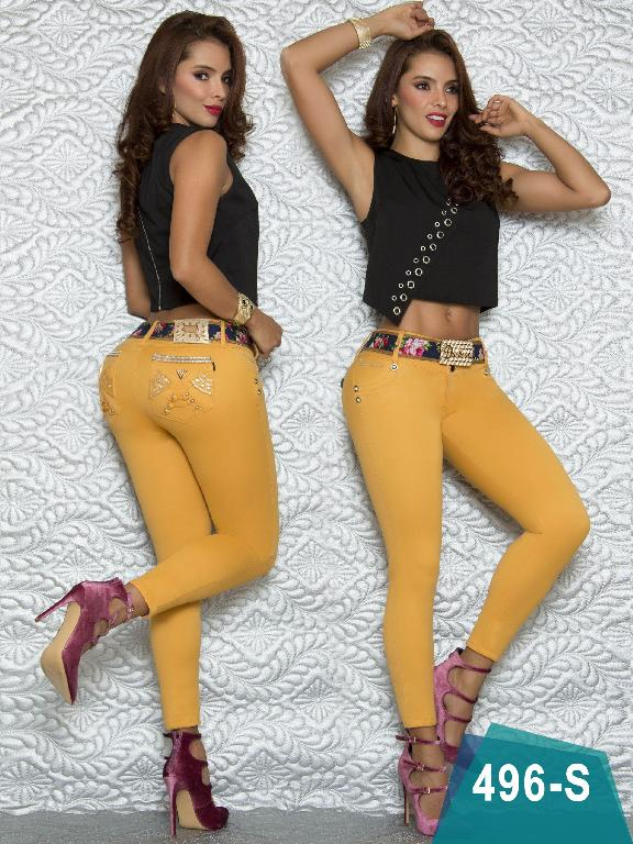 Colombian Sexy Jeans Butt Lifting Mustard Color Duchess - Ref. 237 -496 S