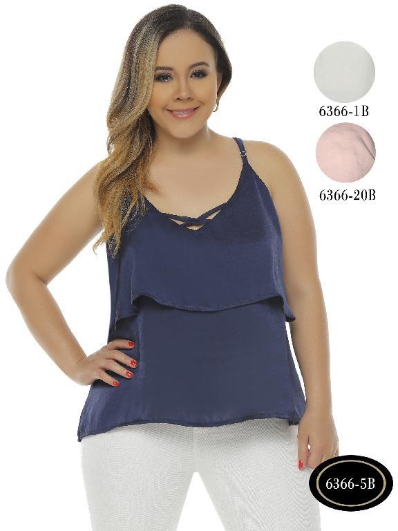 Blusa Moda Colombiana Bambu - Ref. 250 -6366-1B Blanco