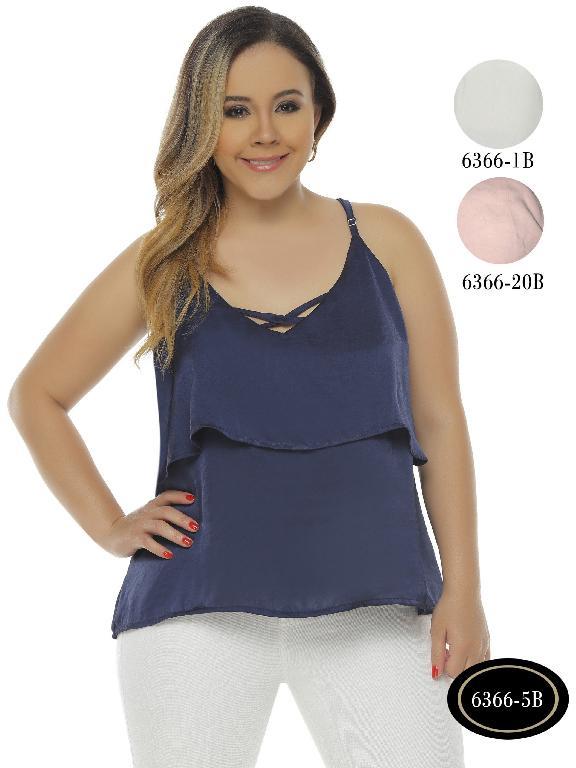 Colombian Elegant Teen Top Blue Bambu Plus Size - Ref. 250 -6366-20B Rosado