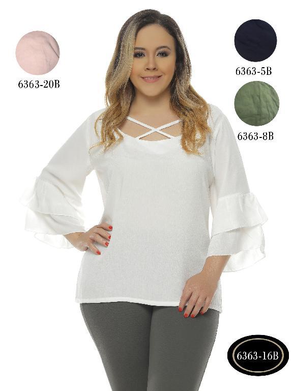 Blusas Plus Size Colombianas Bambu - Ref. 250 -6363-5B Azul