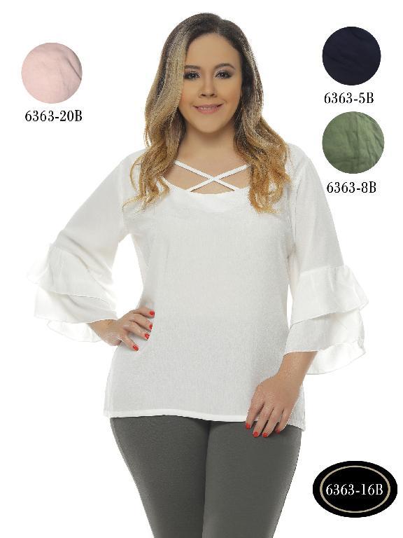 Blusas Plus Size Colombianas Bambu - Ref. 250 -6363-20B Blanco