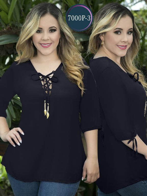 Blusa Moda Colombiana Thaxx Size Plus - Ref. 119 -7000-3 Azul