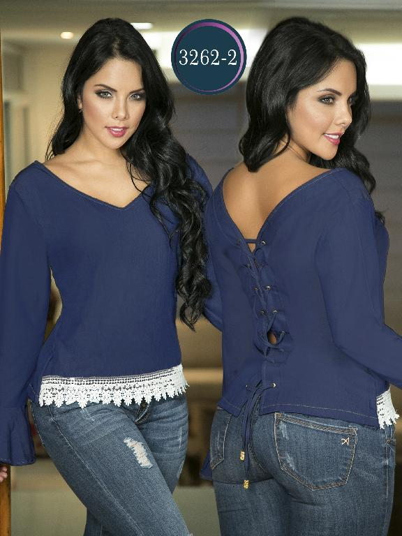 Blusa Moda Colombiana Thaxx  - Ref. 119 -3262-2 Azul Medio