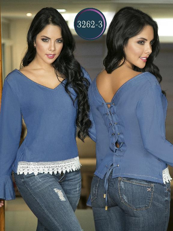 Blusa Moda Colombiana Thaxx  - Ref. 119 -3262-3 Azul Claro