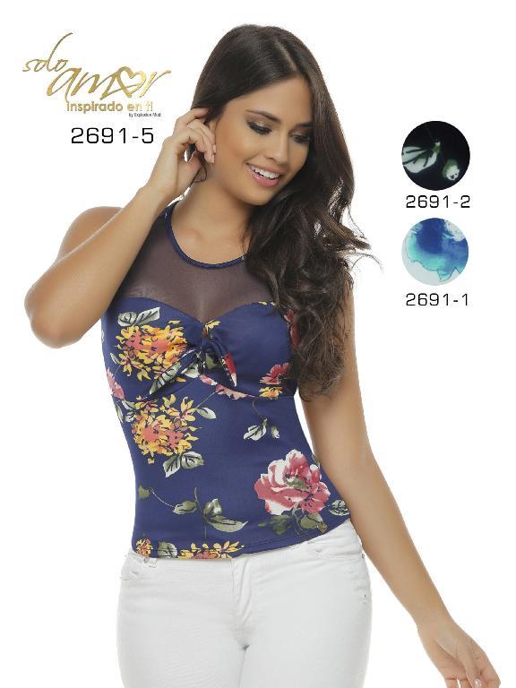 Blusa Moda Colombiana Solo Amor  - Ref. 246 -2691-1 Blanco