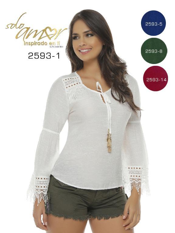 Blusa Moda Colombiana Solo Amor  - Ref. 246 -2593-14 Vinotinto