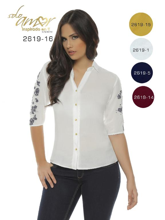 Colombian Classic Blouse White Solo Amor  - Ref. 246 -2619-5 Azul