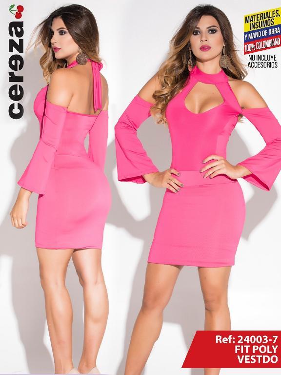 Vestido Moda Colombiana Cereza - Ref. 111 -24003-7 Fucsia