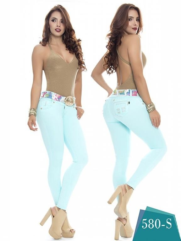 Colombian Jeans Butt Lifting Aqua Color Duchess - Ref. 237 -580 S