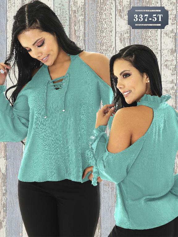 Blusa Moda Colombiana Tabbachi - Ref. 236 -337-5 Azul Aguamarina