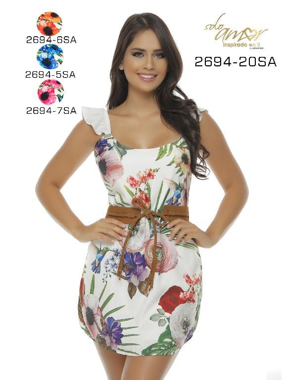 Colombian Sexy Knee Dress Flower Solo Amor  - Ref. 246 -2694-5 SA AZUL