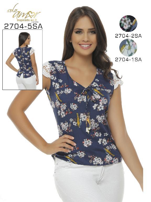 Blusa Moda Colombiana Solo Amor  - Ref. 246 -2704-1 SA BLANCO