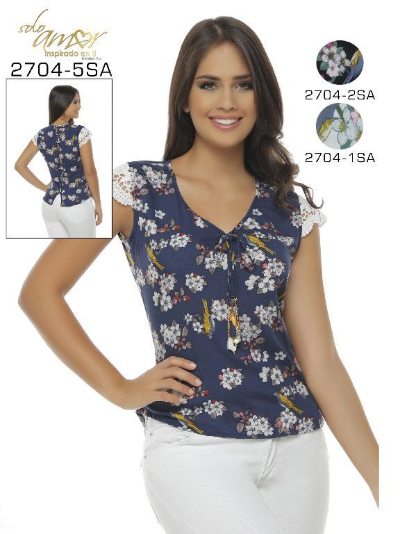 Blusa Moda Colombiana Solo Amor  - Ref. 246 -2704-2 SA NEGRO