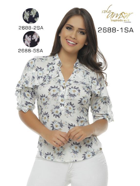 Blusa Moda Colombiana Solo Amor  - Ref. 246 -2688-1 SA BLANCO