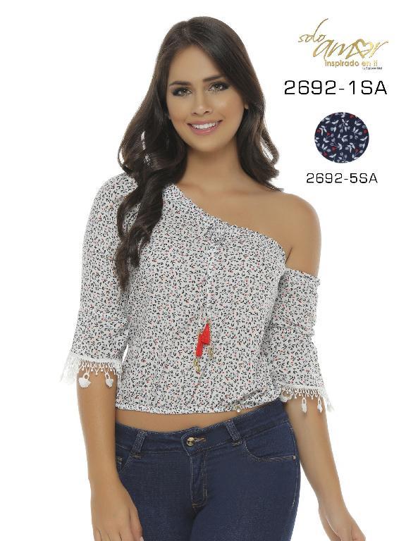 Blusa Moda Colombiana Solo Amor  - Ref. 246 -2692-5 SA AZUL