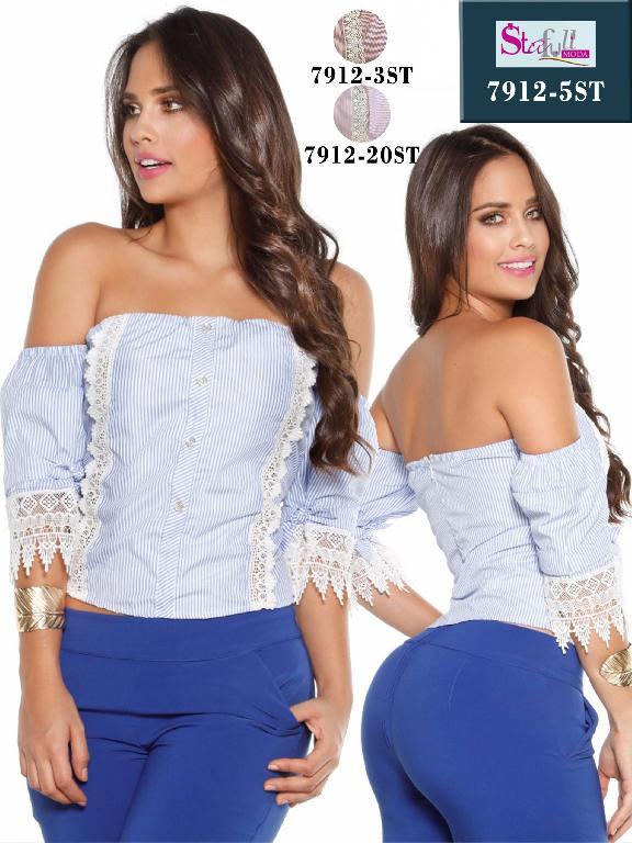 Blusa Moda Colombiana Stafull  - Ref. 247 -7912-5 ST Azul