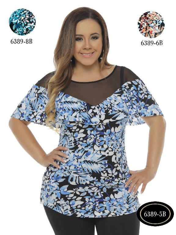 Blusa Moda Colombiana Bambu - Ref. 250 -6389-5 B Azul