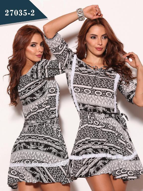Vestido Moda Colombiano Cereza - Ref. 111 -27035-2 Negro