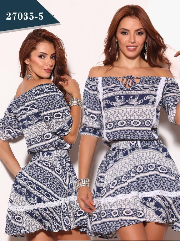 Vestido Moda Colombiano Cereza - Ref. 111 -27035-5 Azul