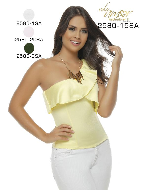 Colombian Sexy one Shoulder Tops Yellow Color Solo Amor  - Ref. 246 -2580-15 SA Amarillo