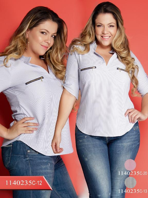 Blusa Moda colombiana Plus Size Colors - Ref. 254 -1140235C-20 Rosado